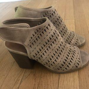 Taupe chunky heels